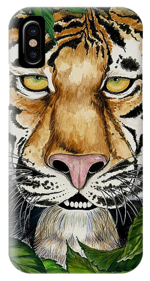 Art IPhone X / XS Case featuring the painting Be Like A Tiger by Carol Sabo
