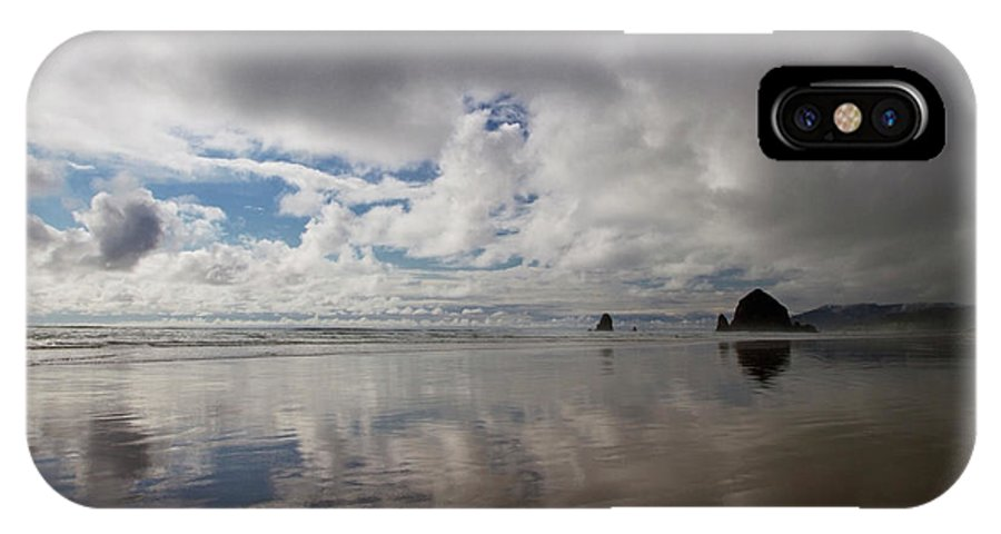 Clouds IPhone X Case featuring the photograph Beach And Clouds Very Wide by Sven Brogren