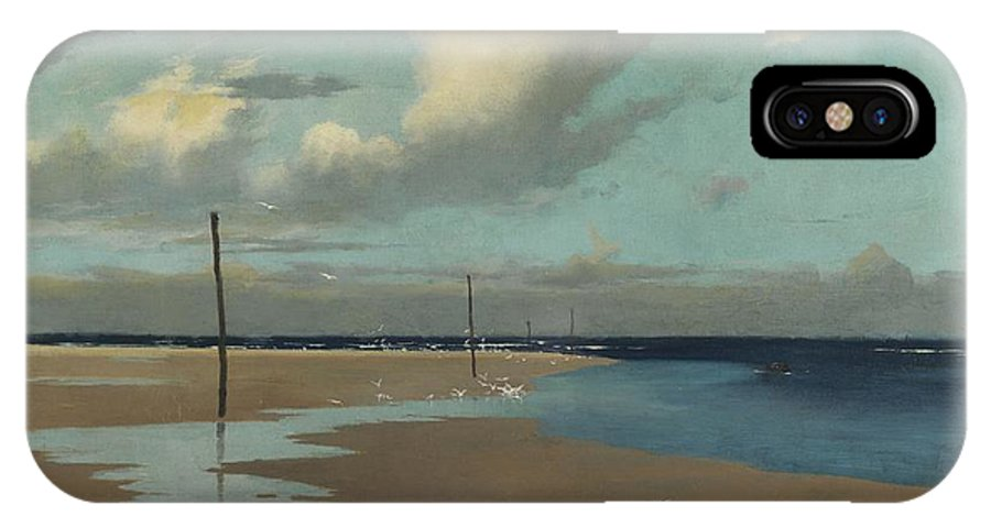 Beach IPhone X Case featuring the painting Beach At Low Tide by Frederick Milner