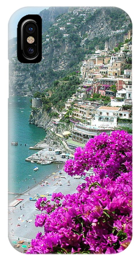 Positano IPhone X Case featuring the photograph Beach At Positano by Donna Corless