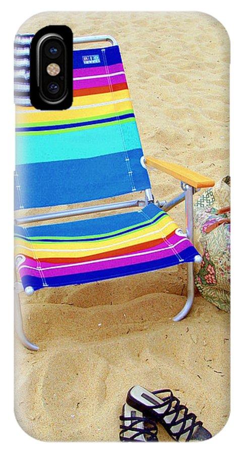 Beach Chair IPhone X Case featuring the photograph Beach Attire by Deborah Crew-Johnson