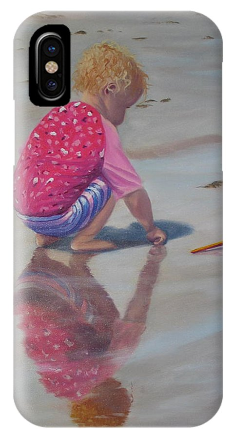 Baby IPhone X Case featuring the painting Beach Baby by Lea Novak