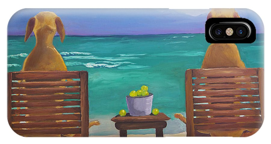 Labrador IPhone X / XS Case featuring the painting Beach Blondes by Roger Wedegis