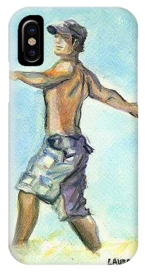 Man On Beach IPhone X Case featuring the painting Beach Boy by Laura Rispoli