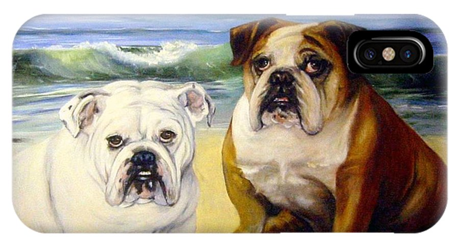English Bull Dogs IPhone Case featuring the painting Beach Bullies by Anne Kushnick