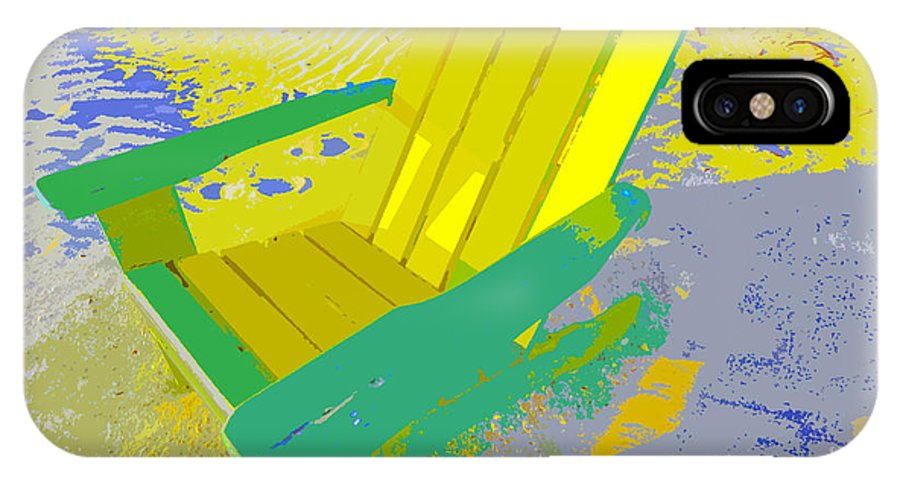 Beach Chair IPhone X Case featuring the painting Beach Chair Work Number Six by David Lee Thompson