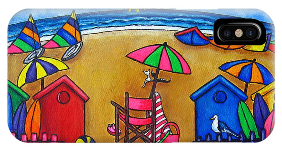 Beach IPhone X Case featuring the painting Beach Colours by Lisa Lorenz