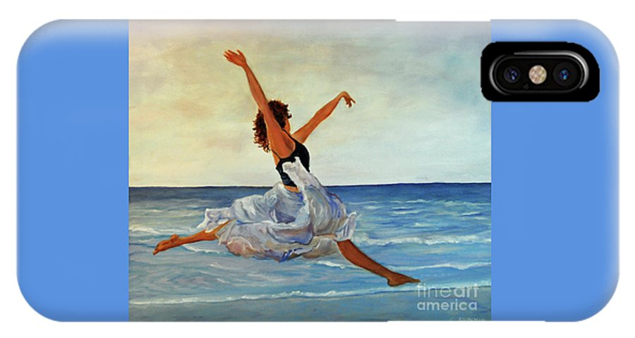 Girl IPhone X Case featuring the painting Beach Dancer by Carolyn Shireman