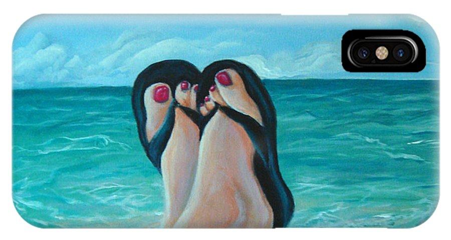 Beach IPhone X Case featuring the painting Beach Day by Devon Ingram