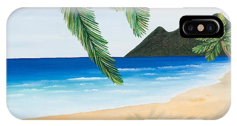 Oil IPhone X / XS Case featuring the painting Beach Day by Sandra Lorant
