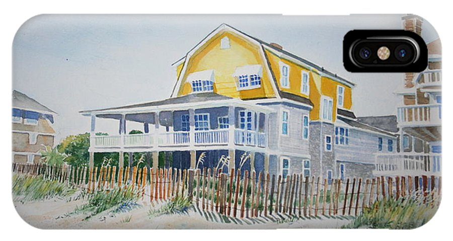 Ocean IPhone X Case featuring the painting Beach Front At Wrightsville Beach by Tom Harris