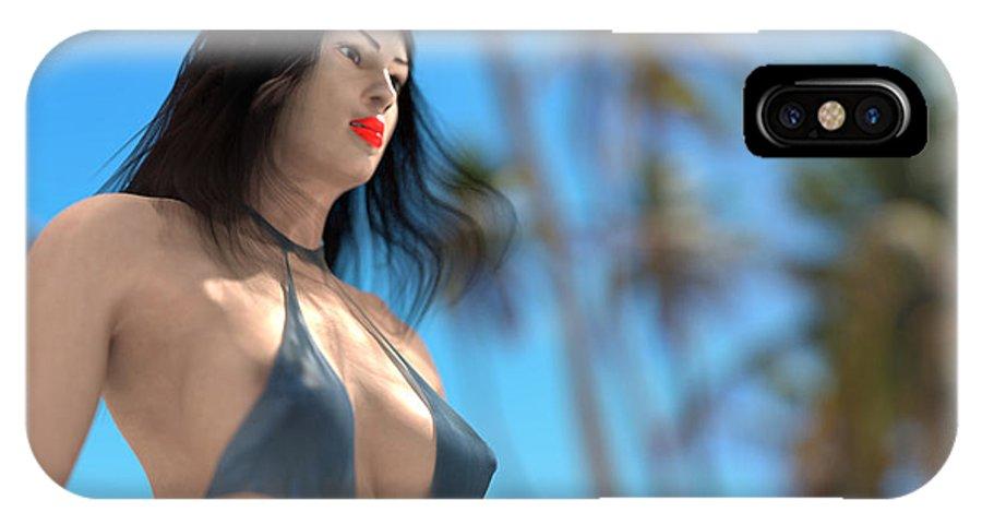 Beach IPhone X Case featuring the digital art Beach Girl by Michael Mills