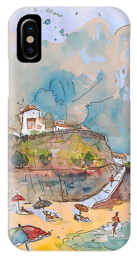 Portugal Art IPhone X / XS Case featuring the painting Beach In Ericeira In Portugal by Miki De Goodaboom