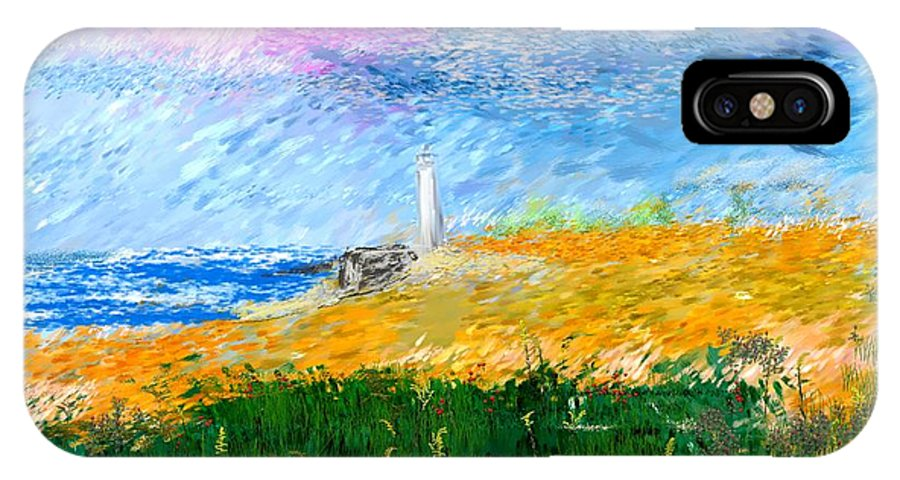 Digital Painting IPhone X Case featuring the digital art Beach Lighthouse by David Lane