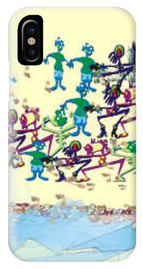 Landscape IPhone X Case featuring the digital art Beach Party Early In The A.m. by Brenda L Spencer