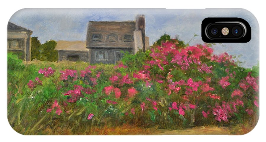 Landscape IPhone X Case featuring the painting Beach Roses And Cottages by Phyllis Tarlow
