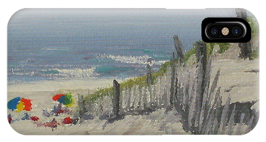 Beach IPhone Case featuring the painting Beach Scene Miniature by Lea Novak