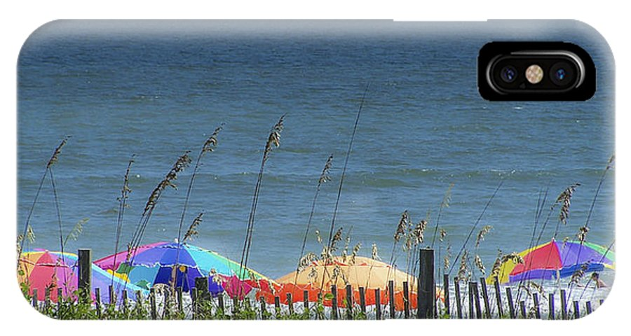 Beach IPhone X Case featuring the photograph Beach Umbrellas by Teresa Mucha