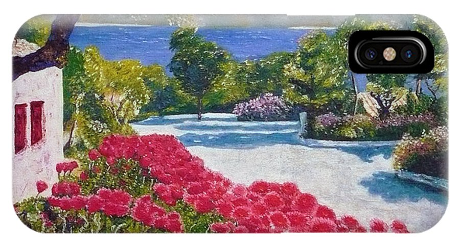 Landscape IPhone X Case featuring the painting Beach with flowers by Ericka Herazo