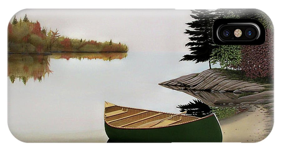 Canoe Paintings IPhone X Case featuring the painting Beached Canoe In Muskoka by Kenneth M Kirsch