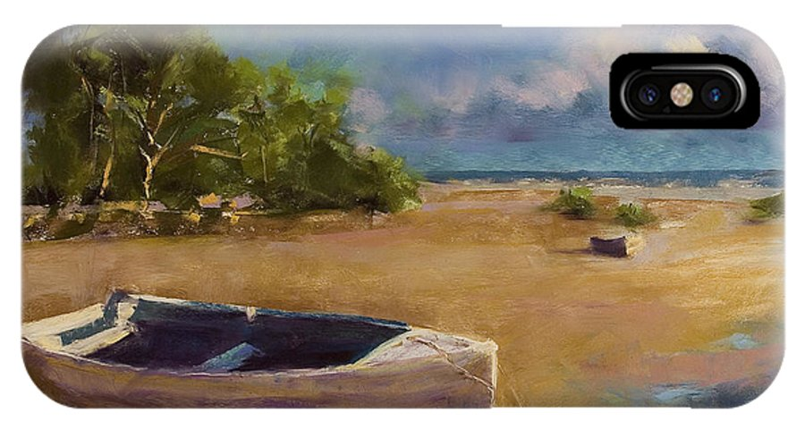 Landscape IPhone X Case featuring the painting Beached by David Patterson
