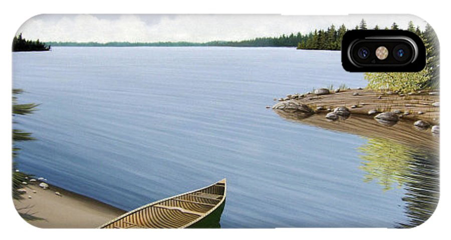 Canoe IPhone X Case featuring the painting Beached In Ontario by Kenneth M Kirsch