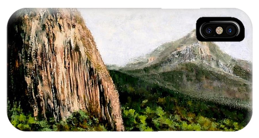Landscape IPhone X / XS Case featuring the painting Beacon Rock Washington by Jim Gola