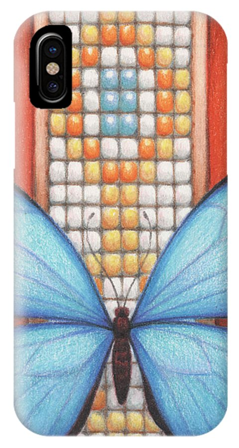 Blue Butterfly IPhone X Case featuring the drawing Beaded Morpho by Amy S Turner