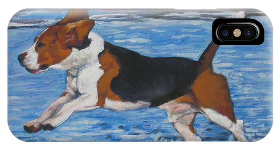 Beagle IPhone X Case featuring the painting Beagle by Lee Ann Shepard