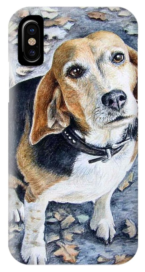 Dog IPhone X Case featuring the painting Beagle Nanni by Nicole Zeug