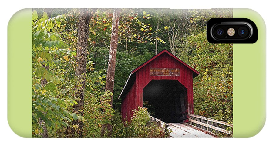 Covered Bridge IPhone X Case featuring the photograph Bean Blossom Bridge I by Margie Wildblood