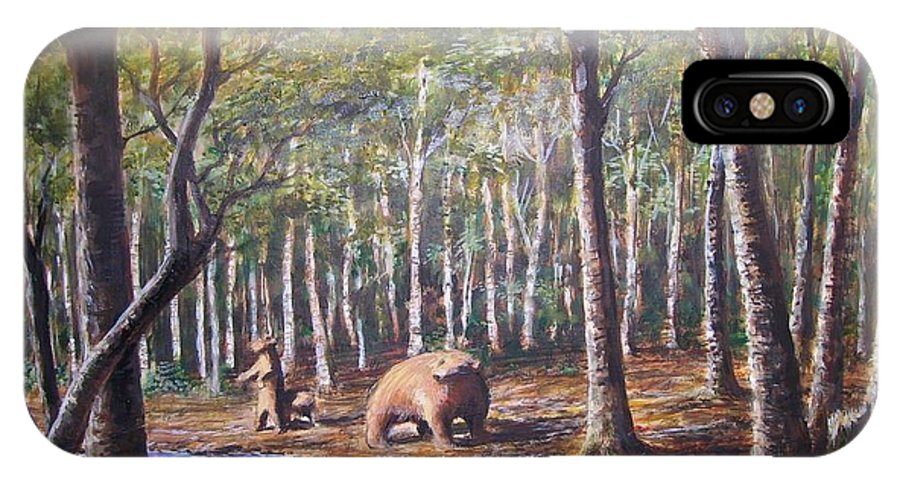 Animals IPhone X Case featuring the painting Bear And Her Cubs by Perry's Fine Art