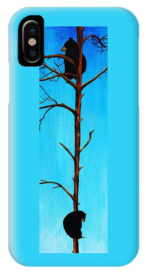 Bear IPhone X Case featuring the painting Bear Country by Lucy Deane
