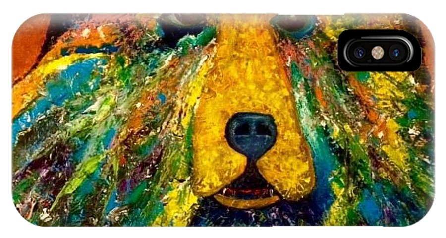 Abstract IPhone X Case featuring the painting Bear by Richard Gagne