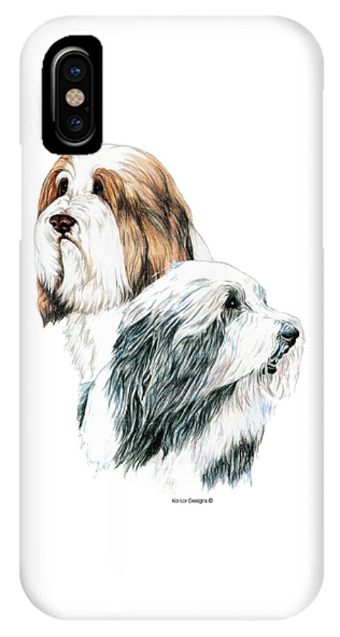 Bearded Collies IPhone Case featuring the drawing Bearded Collies by Kathleen Sepulveda