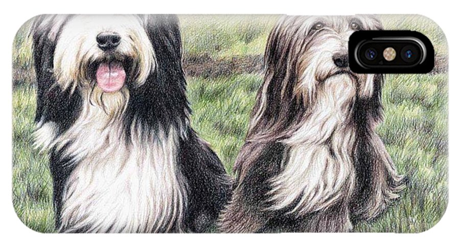 Dogs IPhone X Case featuring the drawing Bearded Collies by Nicole Zeug