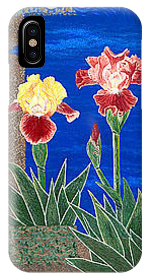 Irises IPhone X Case featuring the painting Bearded Irises Cheerful Fine Art Print Giclee High Quality Exceptional Color by Baslee Troutman