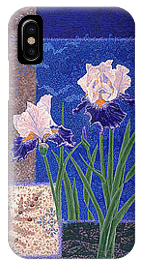 Irises IPhone X Case featuring the painting Bearded Irises Fine Art Print Giclee Ladybug Path by Baslee Troutman