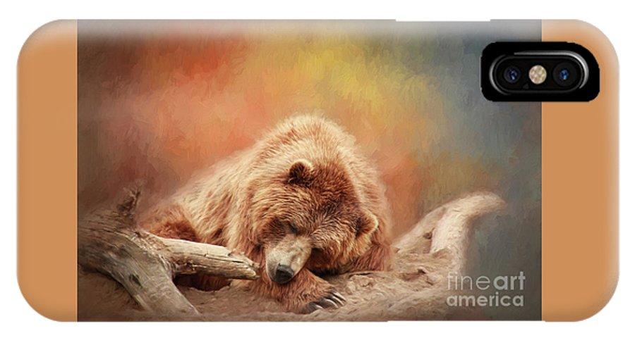 Bear IPhone X / XS Case featuring the photograph Bearly Asleep by Sharon McConnell