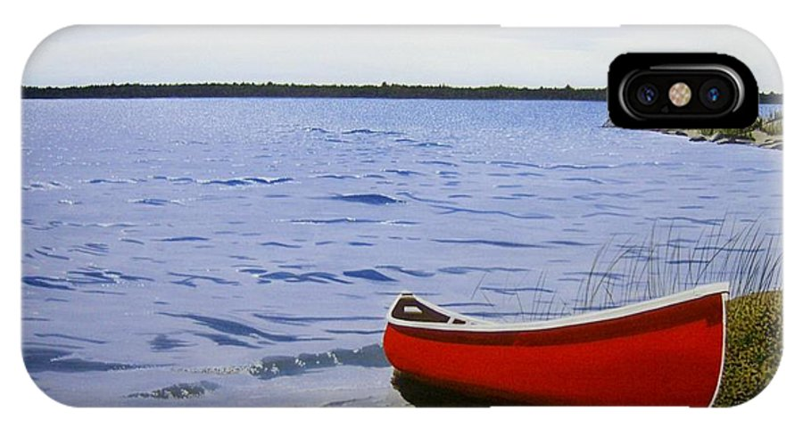 Landscpaes IPhone X Case featuring the painting Beaultiful Red Canoe by Kenneth M Kirsch