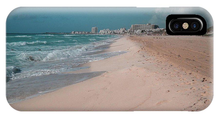 Beach IPhone X Case featuring the digital art Beautiful Beach In Cancun, Mexico by Nicolas Gabriel Gonzalez
