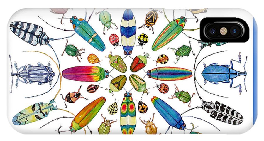 Insects IPhone X Case featuring the painting Beautiful Beetles by Lucy Arnold