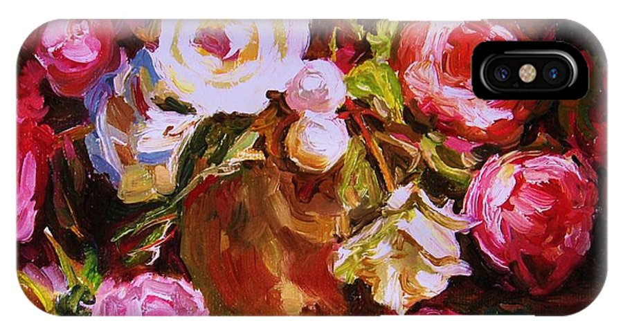 Roses IPhone X Case featuring the painting Beautiful Bouquet by Carole Spandau