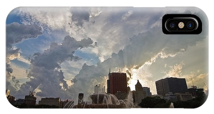 Chicago Skyline IPhone X Case featuring the photograph Beautiful Clouds Over Buckingham Fountain by Sven Brogren