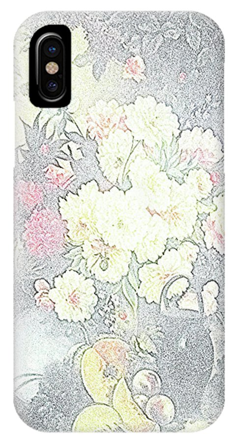 Flowers IPhone X Case featuring the drawing Beautiful Flower Sketch by Vijay Barath