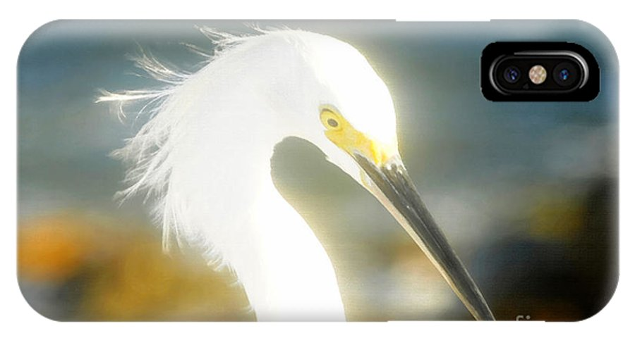 Snowy Egret IPhone X Case featuring the painting Beautiful In White by David Lee Thompson