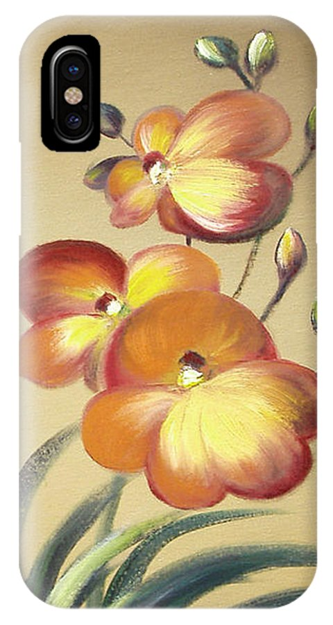 Orange IPhone X Case featuring the painting Beautiful Orchid Flowers by Gina De Gorna