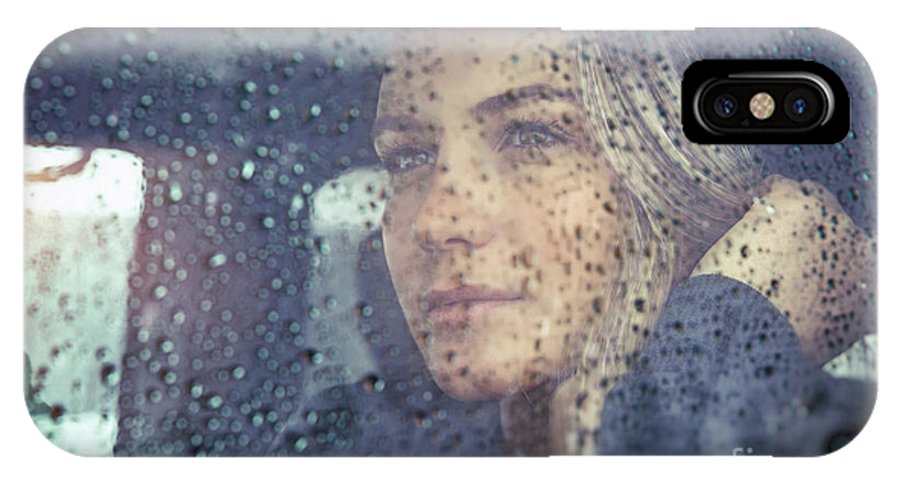Adult IPhone X Case featuring the photograph Beautiful Sad Woman In The Car by Anna Om