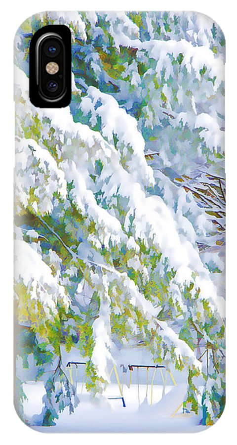 Winter IPhone X Case featuring the painting Beautiful Trees Covered With Snow In Winter Park by Jeelan Clark