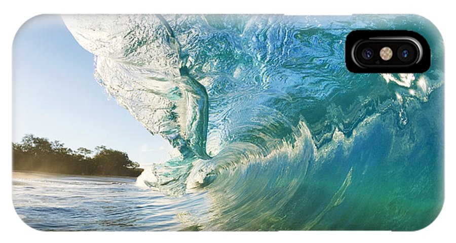 Aqua IPhone X Case featuring the photograph Beautiful Wave and Sunlight by MakenaStockMedia